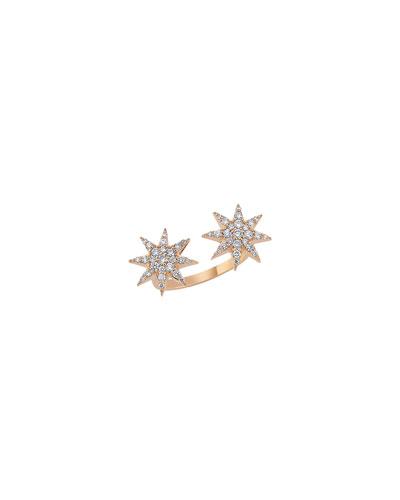 Venus Star 14k Diamond Split Ring  Size 7