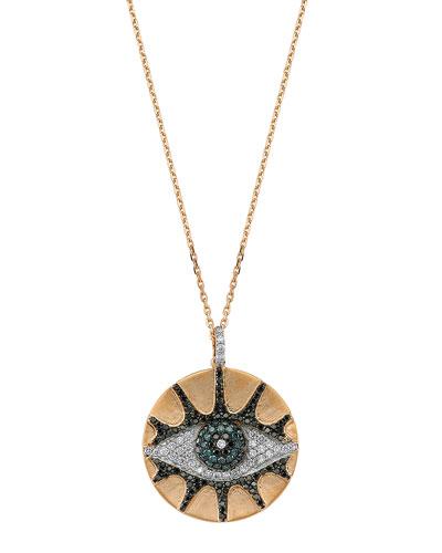 Eye Light Multi-Diamond Disc Pendant Necklace