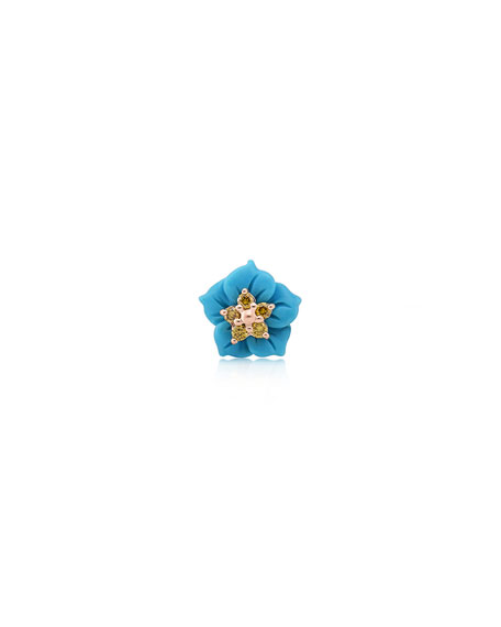 Image 1 of 2: Stevie Wren 14k Rose Gold Carved Turquoise Flower Stud with Yellow Diamonds, Single