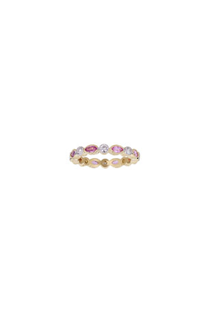 Tanya Farah 18k Yellow Gold Pink Sapphire and Diamond Stacking Ring