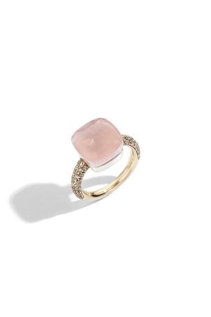 Pomellato Nudo Maxi 18k Rose Quartz/Chalcedony Ring with Brown Diamonds, Size 54