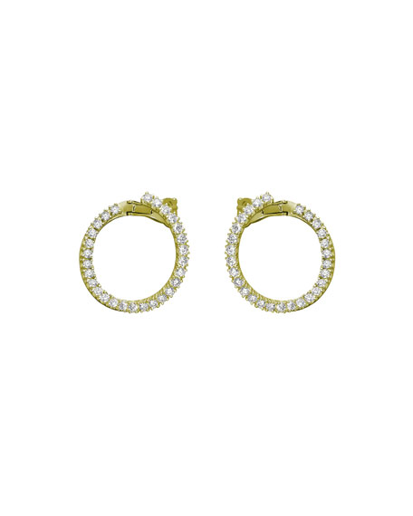 Mattia Cielo Rugiada 18k Small Diamond Front-Hoop Earrings