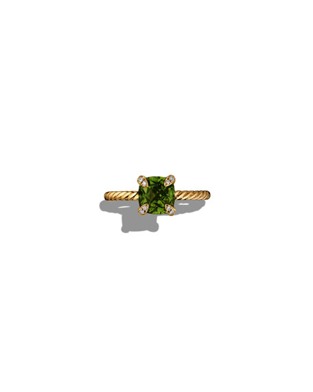 Image 3 of 4: David Yurman Petite Chatelaine Pave Ring in 18K Gold with Peridot, Size 7
