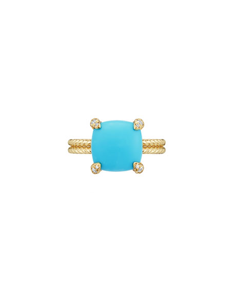 Image 3 of 4: David Yurman Châtelaine 18k Gold 11mm Turquoise Ring w/ Diamonds, Size 8