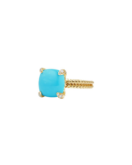Image 1 of 4: David Yurman Châtelaine 18k Gold 11mm Turquoise Ring w/ Diamonds, Size 8