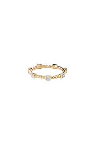 David Yurman Cable Collectibles 18K Diamond Stacking Ring, Size 9