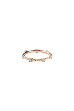 David Yurman Cable Collectibles Stacking Band Ring w/ Diamonds in 18k Rose Gold, Size 9