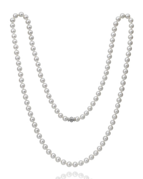 "Image 1 of 3: Assael Akoya 18"" Akoya Cultured 8mm Pearl Necklace with White Gold Clasp"