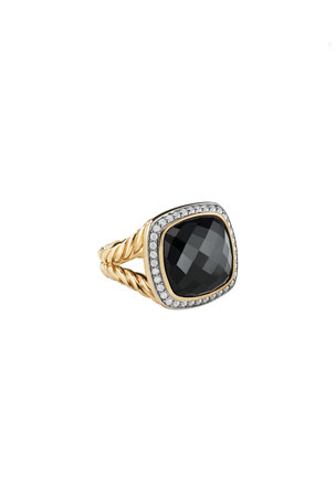 David Yurman Albion Ring with Black Onyx and Diamonds in Gold, Size 6