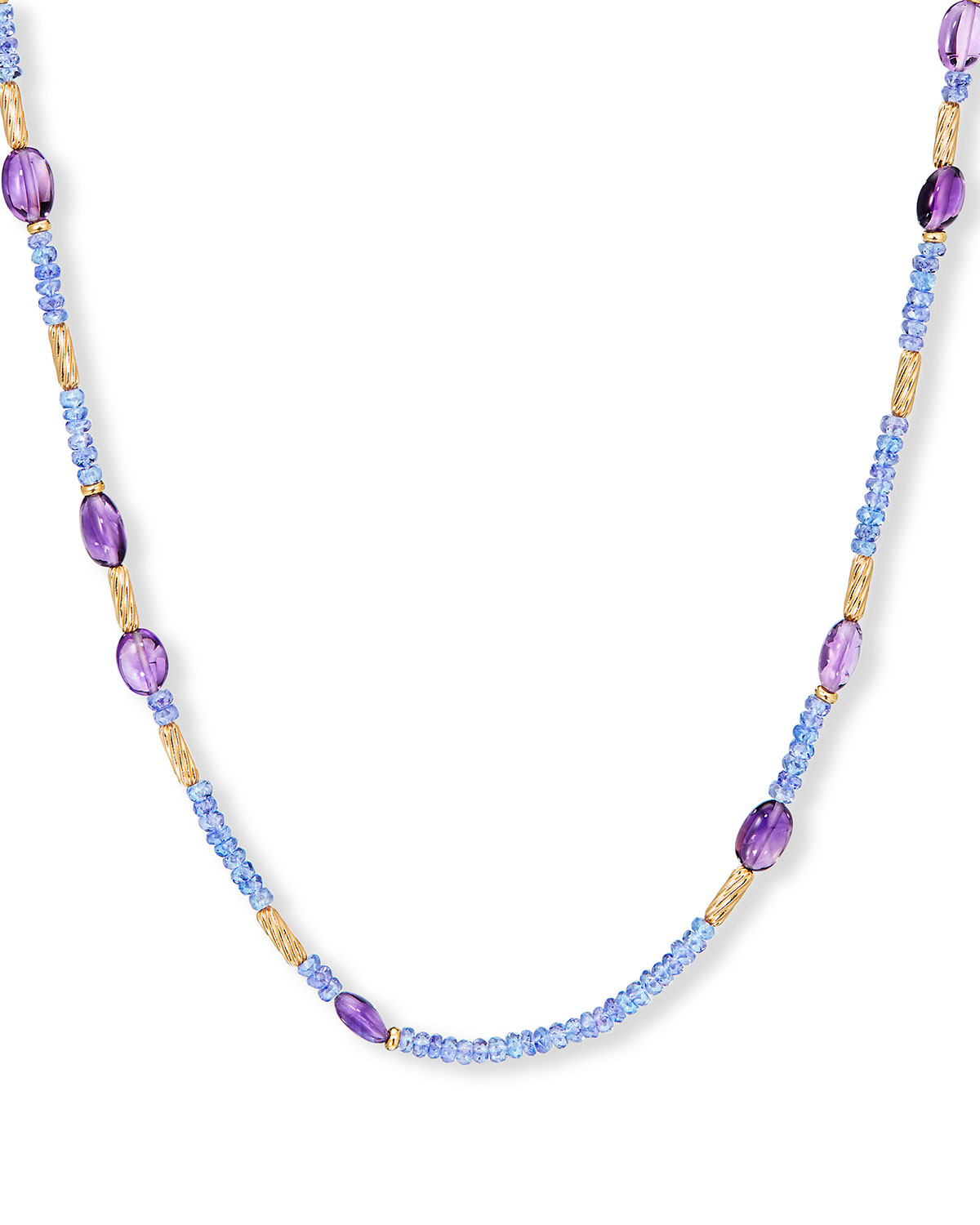 David Yurman Long Tweejoux Necklace with Amethyst and Tanzanite