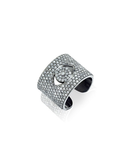 Image 1 of 3: Sheryl Lowe Diamond Evil Eye Cuff Ring, Size 7