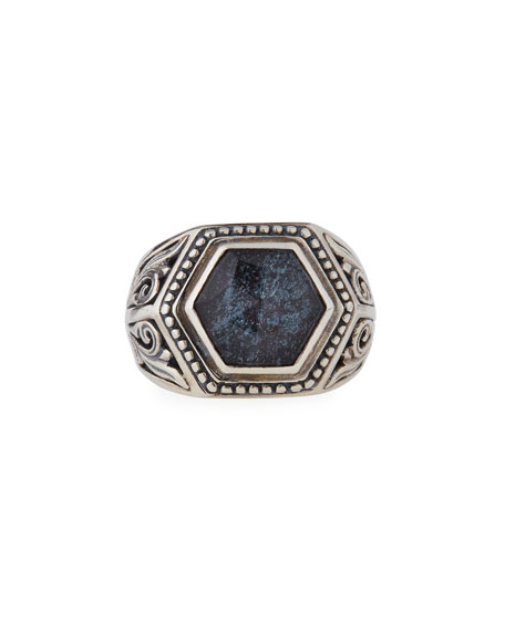 Specular Hematite Doublet Ring, Size 7