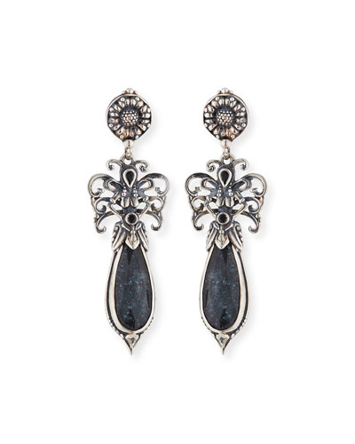 Specular Hematite Doublet Teardrop Earrings