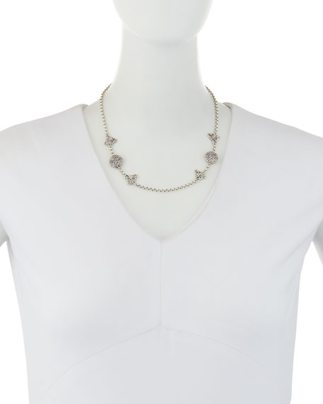 Carved Sterling Silver Station Chain Necklace