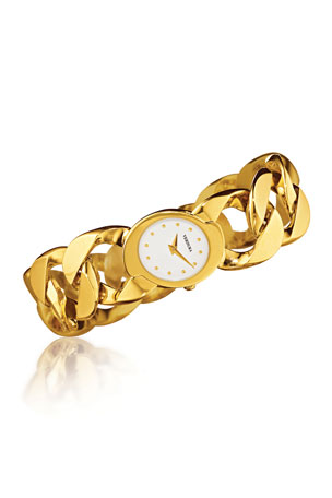 Verdura 18k Yellow Gold Curb-Link Bracelet Watch