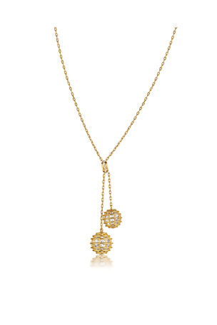 Verdura 18k Yellow Gold Caged Rock Crystal Lariat Necklace