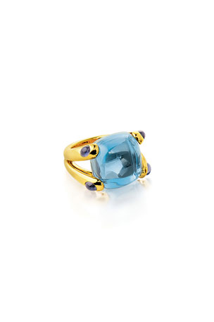 Verdura 18k Yellow Gold Blue Topaz and Iolite Candy Ring