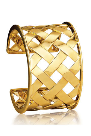 Verdura 18k Yellow Gold Crisscross Cuff