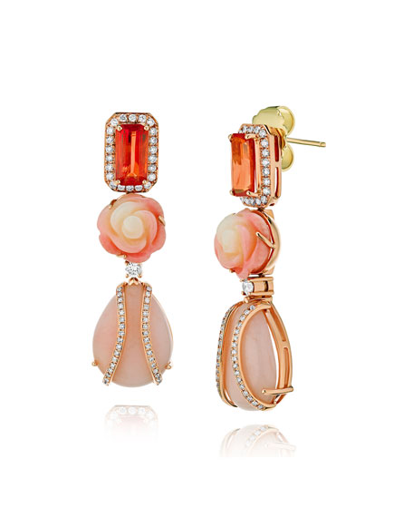 Alexander Laut 18k Rose Gold Sapphire, Coral And Pink Opal Earrings With Diamonds In Multi