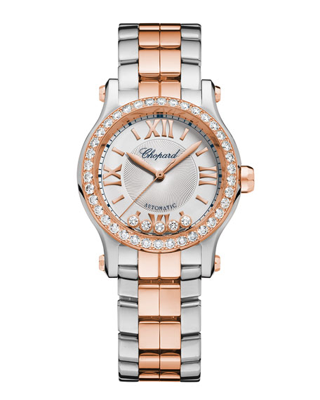 30mm Happy Sport Two-Tone Watch with Diamonds