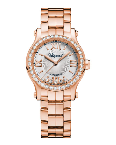 30 mm Happy Sport 18K Rose Gold Automatic Watch with Diamonds