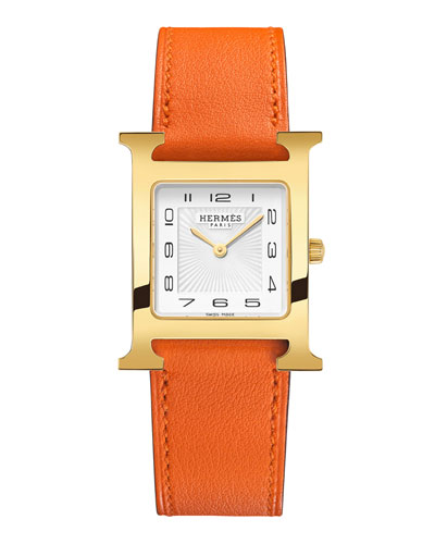 Heure H MM Watch with Orange Leather Strap