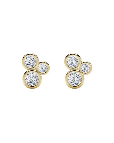 Tribute 18k Gold 3-Diamond Bezel Stud Earrings