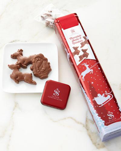 North Pole Tin with Chocolate Santa and Reindeer