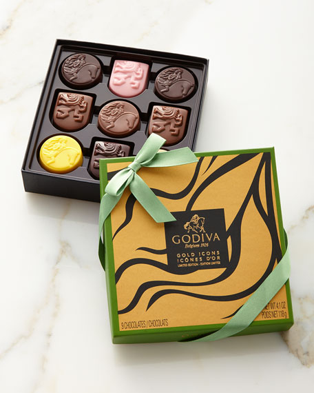 Limited Edition Gold Icons Chocolates, 9 piece