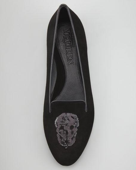 Embroidered Sequined Skull Smoking Slipper, Black