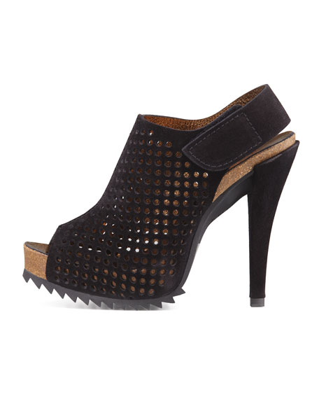Perforated Suede Slingback Bootie