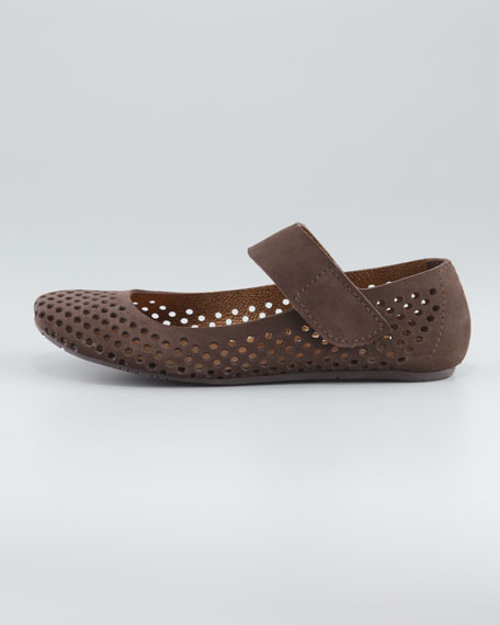 Ylenia Perforated Suede Mary Jane Flat, Smog
