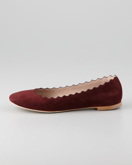 Scalloped Suede Ballerina Flat, Prune