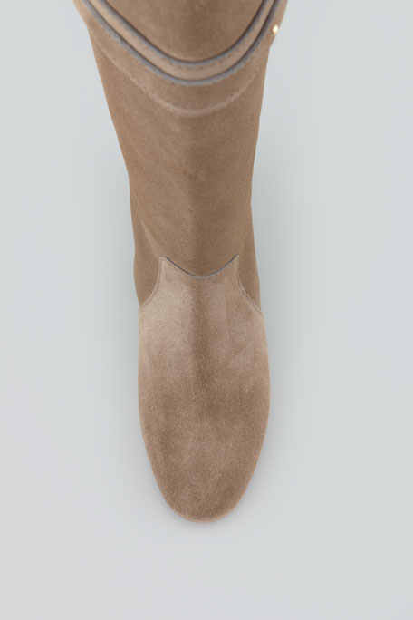 Paddington Suede Flat Knee Boot, Taupe