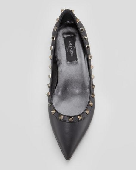 Noir Rockstud Leather Ballerina