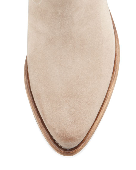 Suede Western Ankle Bootie, Beige