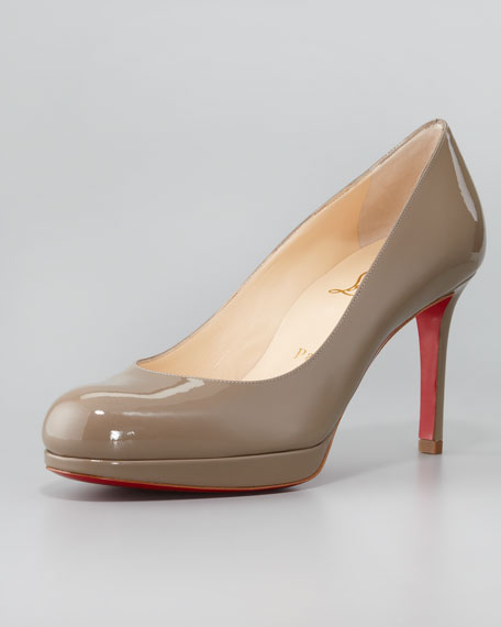 New Simple Red Sole Patent Pump, Taupe