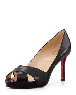 Christian Louboutin Shelly Matte Crisscross Red Sole Pump