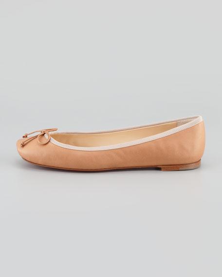Rosella Square-Toe Ballerina Flat, Nude