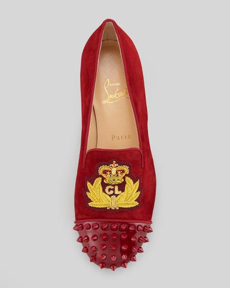 Intern Spiked Velvet Red Sole Loafer, Red