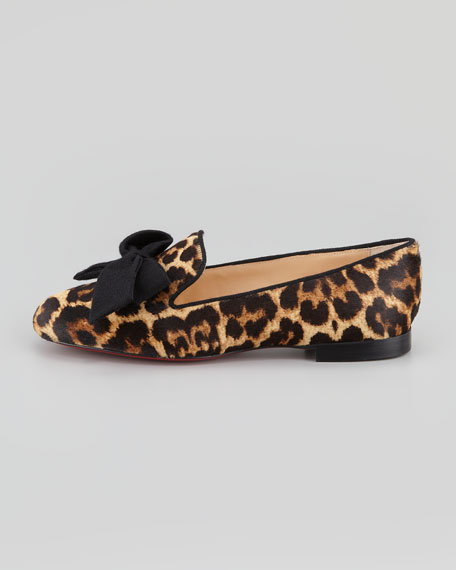 Gine Leopard-Print Calf Hair Slipper