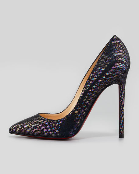 christian louboutin pigalle glitter red sole pump blue