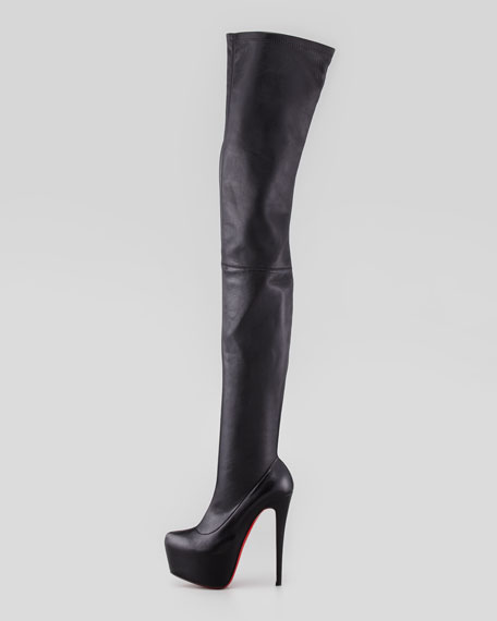 Monicarina Over-The-Knee Leather Platform Boot, Black