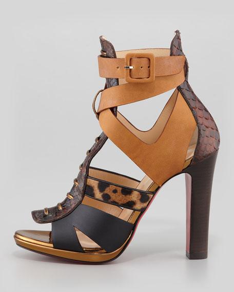 Keny Mixed-Media Red Sole Gladiator Sandal