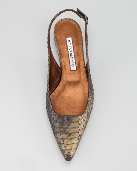 Lestina Pointed-Toe Snakeskin Slingback Flat