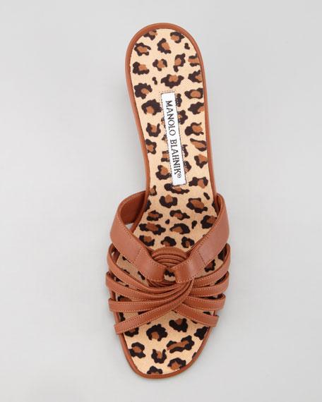 Pigi Multi-Strap Leather Slide Sandal, Cuoio