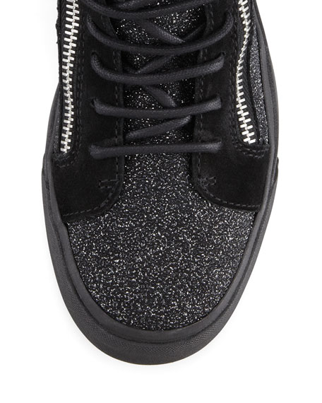 High-Top Glitter Sneaker, Black