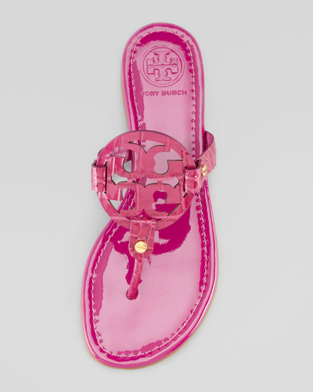 Tory Burch Miller Croc-Embossed Thong Sandal, Fuchsia