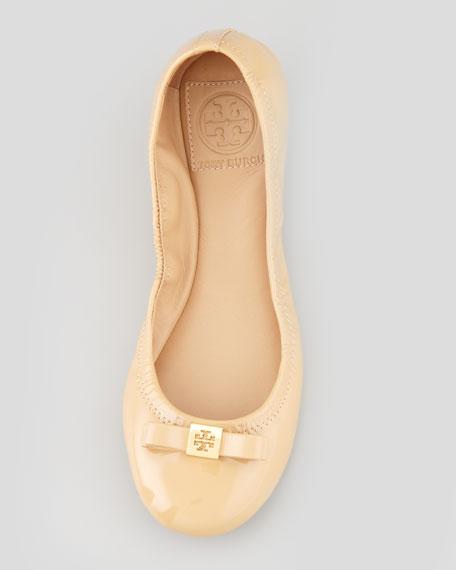 Eddie Logo Bow Patent Ballerina Flat, Nude