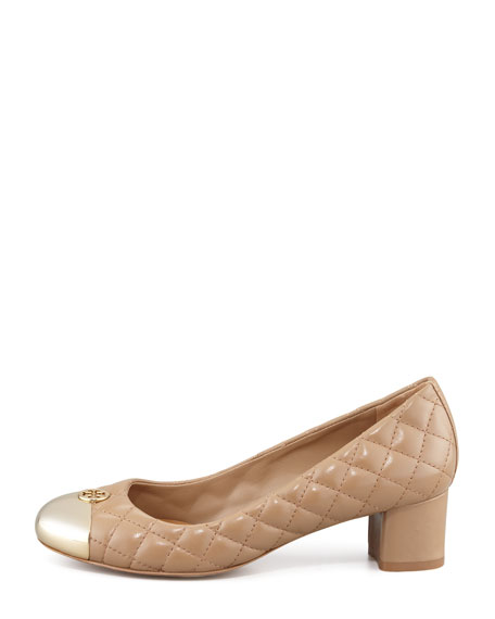 Kaitlin Quilted Cap-Toe Pump, Beige